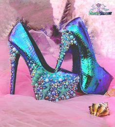 Sirens custom made platform heels mermaid by PastelDreamShoes