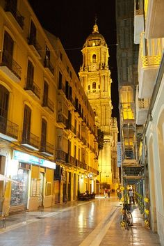 SPAIN / Andalucía - Cities, towns, landscapes - Nighttime Malaga Old Town, Spain Malaga Spain, Andalusia Spain, Nevada Mountains, Balearic Islands, Spain Travel, Granada, Vacation Destinations, Night Time, Old Town