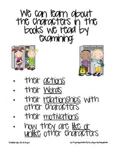 Character Study Anchor Chart {Ways we Learn about Characters}  TPT Freebie; I would maybe change it up a bit to make it appropriate for high school level students..,