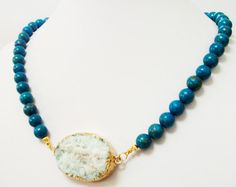 Turquoise Necklace  White Druzy Edged Gold Focal by BijiJewelry