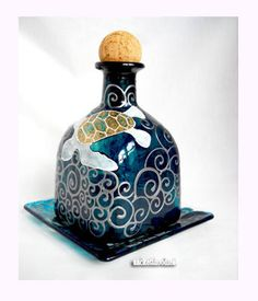 Sea Turtle Patron Bottle Decanter with Base Plate Hand Painted Bottle Art on Glass