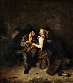 Cornelis Pietersz Bega: Young Couple in a Tavern By Cornelis Pietersz Bega...