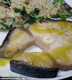 Shark with vinaigrette and walnut rice salad