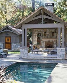 find this pin and more on outdoor spaces i like this backyard design outdoor kitchen pool