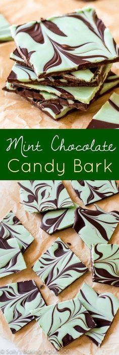 Easy Mint Chocolate Swirl Bark on sallysbakingaddiction.com-- one of the easiest treats you'll make!