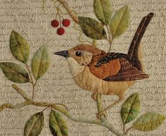 "Sandra Leichner art quilt - I have yards of this background fabric that I looooove for my ""good"" applique pieces!"