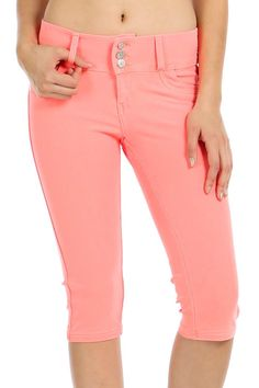 SOLID THREE BUTTON CLOSURE CAPRI PANTS-Orange