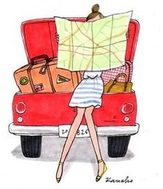 Illustration by Kanako Kuno Travel Illustration, Illustration Girl, Van Hippie, My Little Paris, Buch Design, Illustrations, Fashion Sketches, Road Trip, Drawings