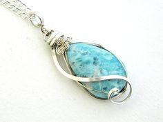 larimar pendant larimar necklace wire wrap by joyeriamestiza