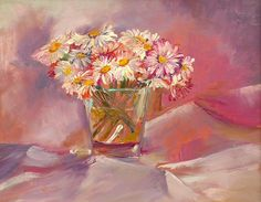 Daisy Love   Acrylic Pink Still Life with Flowers   Original Acrylic Painting   Dora Stork   Encaustic Artist Daisy Love, Stork, Acrylic Paintings, Still Life, Pink Flowers, Glass Vase, Floral, Artist, Flowers