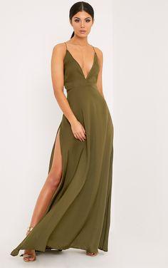 Beccie Khaki Extreme Split Strappy Back Maxi Dress