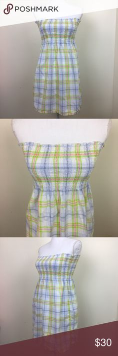 J. Crew Plaid Elastic Top / Dress This blue and green plaid summer number can be worn as a top or a dress depending on height. Size: Medium Top length: Skirt length: Total length: Chest: J. Crew Tops