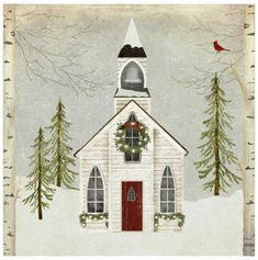 Snow Church by Beth Albert Canvas Art, Size: 20 x Multicolor Christmas Scenes, Christmas Art, Christmas Decorations, Xmas, Tole Painting, Painting & Drawing, Canvas Art Prints, Canvas Wall Art, 2 Clipart