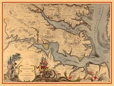 Historical Map of Virginia 1585–1781 with Williamsburg, Jamestown and Yorktown