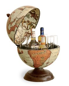 Vintage Table Top Mini Bar Globe Safari Color 13 185 50