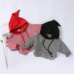 Baby Cotton Long Sleeve Hooded 2 Colors Striped Casual Top Tees