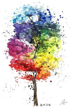 "-Art print of watercolor ""Rainbow Tree"" on fine textured canvas paper Dimensions: x cm x "") -signed fine art print of the watercolor drawing ""Rainbow tree"" on fine-textured canvas paper Size: x cm x "") Watercolor Paintings For Beginners, Watercolor Art Paintings, Easy Canvas Art, Canvas Paper, Cool Art Drawings, Rainbow Art, Art Abstrait, Tree Art, Watercolor Illustration"