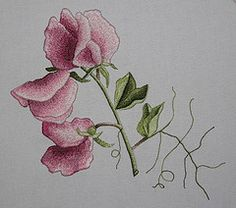 embroidery ~ sweet peas - this lady does some really beautiful work