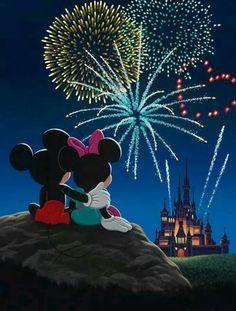 Mickey Mouse Minnie Mouse Disney Disneyland walt Disney world Disney park Independence Day Fourth of July summer fireworks castle night sky animation drawing Disney Dream, Disney Magic, Mickey E Minnie Mouse, Mickey Love, Disney Mickey, Disney Parks, Disney Nerd, Disney Animation, Disney Fireworks