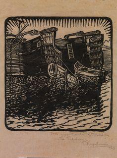 Κεφαλληνός Γιάννης, Οἱ μαοῦνες (Τά τιμόνια), 1920 Art Articles, Collagraph, Scratchboard, Wood Engraving, Conceptual Art, Printmaking, Stamp, Fine Art, Sculpture
