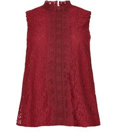 """Plus Size. Try wearing this vintage inspired lace sleeveless top with black coated skinny jeans and ankle strap heels to finish.- All over lace material- High neck- Keyhole back- Sleeveless design- Casual fit- Model is 5'9""""/180cmCreated for women of size 18 to 28/EU 46 to 56**Selected styles are available up to size 32/ EU 60"""