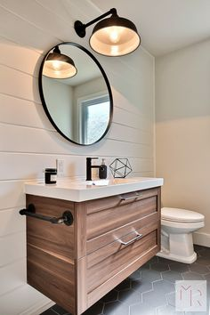 27 Gorgeous Modern Living Room Designs For Your Inspiration: 90 Gorgeous Modern Farmhouse Bathroom Decor Ideas Match Downstairs Bathroom, Bathroom Renos, Small Bathroom, Ikea Bathroom Vanity, Modern Bathroom Vanities, Bathroom Black, Bathroom Wall, Bathroom Ideas, Mini Bad