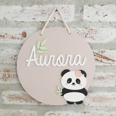Wooden Name Plaques, Wood Letters, Fairy Crafts, Diy And Crafts, Panda Decorations, Panda Wallpapers, Baby Name Signs, Kids Room Design, Kids Corner