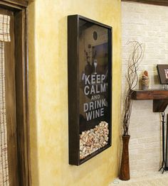 Wine Cork Holder Wall Decor 8x10 wine cork holder, cork keeper, keep calm wine on, keep calm