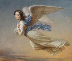 Felix Francois Barthelemy Genaille- Angel in the air, 1870 Angel Images, Angel Pictures, Catholic Art, Religious Art, Entertaining Angels, Angel Artwork, I Believe In Angels, Angels Among Us, Angels In Heaven