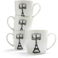French-Bistro 'Paris je t'aime!' Porcelain Mugs $29.95