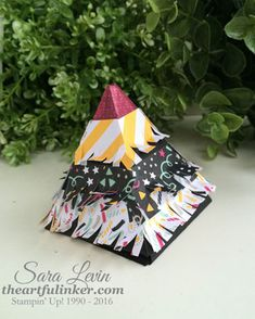 Sara Levin   theartfulinker.com Personal birthday pinata makes a perfect favor.  It's made with a Pyramid Pals base, featuring It's My Party designer paper.  Click for details.