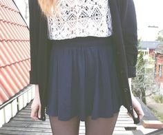 Lace top outfit....if only this skirt was longer