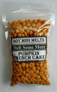 Pumpkin Crunch Cake wax mini melts 6oz bag for $5.00 each from my Etsy shop https://www.etsy.com/listing/478021821/pumpkin-crunch-cake-scented-wax-mini