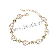 Austrian Crystal Bracelet, Zinc Alloy, with Austrian Crystal, with 5cm extender chain, Heart, real gold plated, yellow, 0.6cm,china wholesale jewelry beads