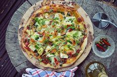 Smaki Alzacji : Pizza z kurkami i cukinią