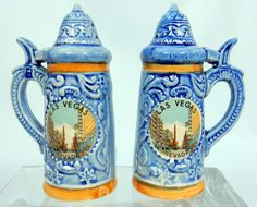 Vintage Ceramic Las Vegas Salt and Pepper Shakers Set Blue Steins Dinnerware