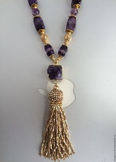 Купить Сотуар с бисерной кистью АМЕТИСТОВЫЙ - колье, аметистовое колье, натуральный аметист, ожерелье из аметиста