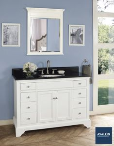 Our Framingham vanity collection is elegant yet understated #bathroomvanity #vanity #traditionalbathroom #bathroomdesign