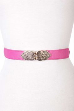 #FashionVault #kandy kouture #Women #Accessories - Check this : Fuchsia Faux Leather Heart Intricate Design Elastic-band Waist Belt for $24.99 USD