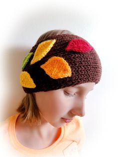 Hand Knitted Headband. Fall Leaves. #HandmadeVividBear