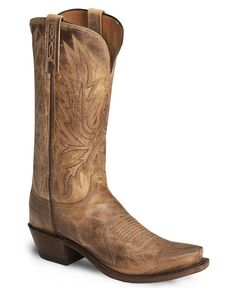 Lucchese Boots - Handcrafted 1883 Mad Dog Tan Burnished Cowgirl Boot - Snip Toe