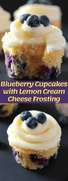 Blueberry Cupcakes with Lemon Cream Cheese Frosting, Desserts, These blueberry cupcakes with lemon cream cheese frosting are so quick and easy to make, not to mention delicious! Easy Cheesecake Recipes, Easy Cookie Recipes, Frosting Recipes, Lemon Blueberry Cupcakes, Blueberry Recipes, Recipes With Blueberries, Lemon Recipes, Köstliche Desserts, Dessert Recipes