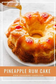 Pineapple Rum Cake Recipe – A homemade buttery sour cream pound cake is enhanc. - Pineapple Rum Cake Recipe – A homemade buttery sour cream pound cake is enhanced with sweet tropi - Köstliche Desserts, Delicious Desserts, Homemade Desserts, Food Cakes, Cupcake Cakes, Sour Cream Pound Cake, Butter Pound Cake, Pineapple Cake, Pineapple Coconut