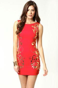 1bbe613aae10 Kiera Foil Side Panel Sleeveless Bodycon Dress Gold Pattern, Wardrobe  Staples, Evening Dresses,
