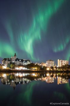 Northern lights over Saskatoon, Saskatchewan, Canada | @explorecanada