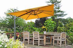 Charmant Zangenberg Monte Carlo Ampelschirm ☂ Gelber Sonnenschirm ☂ Gartenterrasse ☂  Quadratischer Ampelschirm