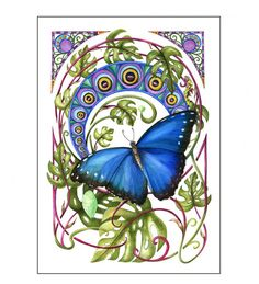 This is a print of my original watercolor painting of the Blue Morpho Butterfly in the style of Art Noveau Archival by BugsBeastsBotanicals, I invite you to visit my Etsy shop to see more of my work.  $89.00
