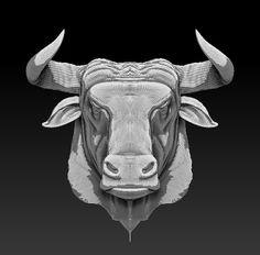 bull head 3d obj