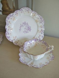 c1900 Beautiful FOLEY WILEMAN TRIO, LILAC IVY bright GILT, Cup Saucer Tea Plate.