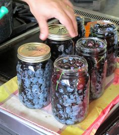 canning blueberries tutorial. with lavender and vanilla.